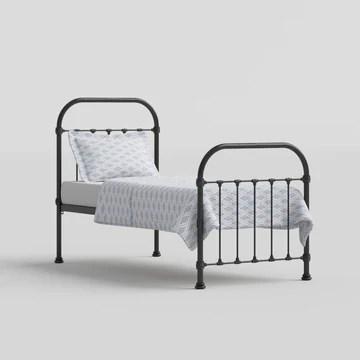 The Original Bed Co. Lit Metal Timolin Cadre de Lit en Fer avec Sommier à Lattes en Bois 90 x 190 cm Noir Satiné