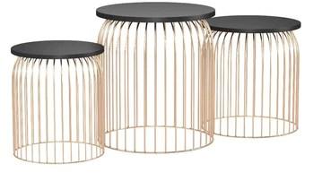 [en.casa] Kit de 3 Paniers en Métal Table d'Appoint Table de Salon Table Basse Métal Cuivré Différents Types de Taille (3)