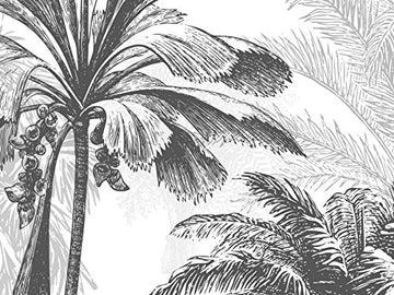 SILK ROAD EU Papier Peint Panoramique jungle Soie, 355 x 250 cm, noir et blanc Sketch Tropical Rainforest Coconut Tree Poster Geant Mural Personnalisé 3D pour Salon Chambre Décoration Murale