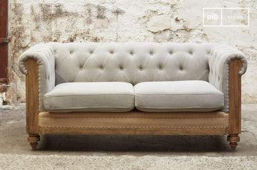 Canapé Chesterfield Montaigu 2 Places Gris - Bois Massif, Haute résistance, Grand Confort d'assise   Le Confort d'un Sofa Original, irrésistiblement rétro - Beige (L82 x H165 x P73 cm)