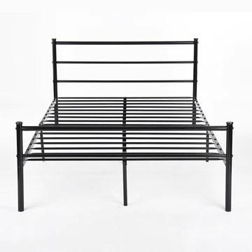 H.J WeDoo Lit en métal Design Double 2 Places Cadre de lit + Sommier Intégré 140x200cm (Lit Double) - Noir