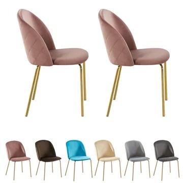 MCC Lot de 2 Chaises de Salle à Manger Velours Design Moderne avec Pieds en métal Or (Rose)