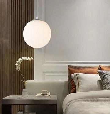 AUA Lustre boule en verre, Lampe suspension, Lampe intérieur simple pour Chambre Salon Couloir Restaurant Café 1pcs (25CM)