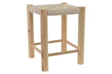 KOTECAZ, Tabouret bas scandinave en bois et assise coton tressée, Assise 31,5 X 31,5, Hauteur de 39,5 cm
