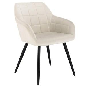 WOLTU 1 pièce Chaise de Salle à Manger Chaise de Cuisine rembourrée en Velours, Pied en métal,Crème Blanc BH93cm-1