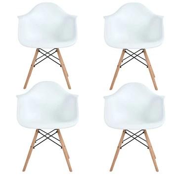 EGGREE Lot de 4 Scandinave Chaises de Salle à Manger Chaise de Salon Chaises de Café Les Fauteuils Lounge Fauteuil de Bureau Meubles,Blanc
