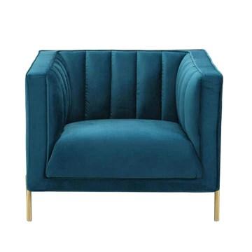 DecoInParis Fauteuil Moderne en Velours Pieds doré Roby (Bleu)