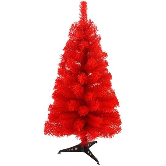 Zinsale Pin de 3ft / 90 cm Sapins de Noël Artificiel avec Support d'arbre Qualité Plastique Décoration d'arbre (Rouge)