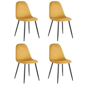 Ensemble de 4 chaises de salle à manger de cuisine, faciles à assembler, chaises latérales à coussin en velours avec de solides pattes en métal noir pour le salon de la cuisine familiale, jaune
