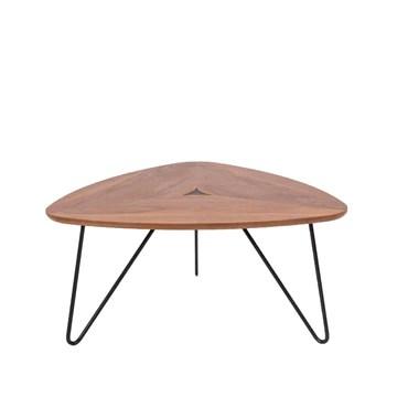 Marque Amazon - Rivet - Table basse triangulaire, en noyer et à base en métal noir, 77 x 65 x 56 cm