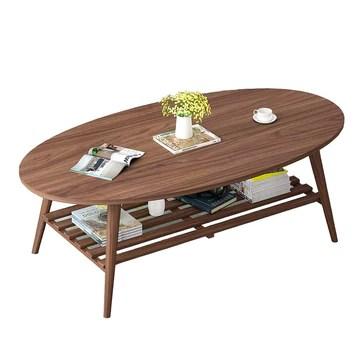 Table XIAOYAN Basse Nordique en Bois Massif avec étagères à 2 Niveaux Petite à thé Ovale de Bureau 3 Couleurs 100X50X43cm (Couleur : C)