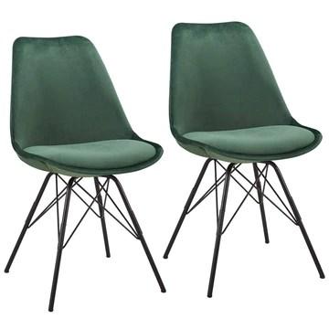 Duhome Chaise Salle à Manger Lot de 2 en Tissu Velours Vert sélection de Couleur Design Retro Chaise scandinave avec Pieds en métal 518MJ