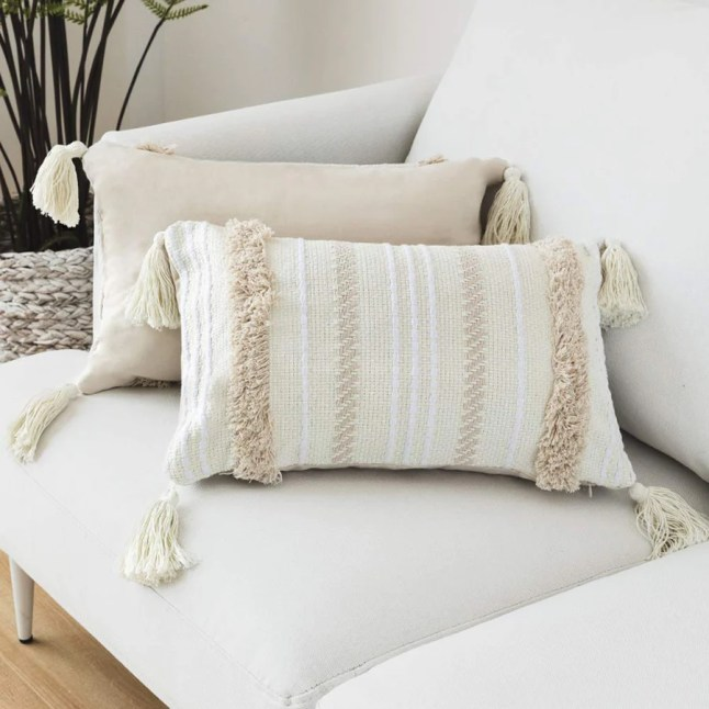 Lomohoo - Taie d'oreiller moderne simple touffeté à pompons géométriques tricotés pour décoration d'intérieur, beige uni, Coton, beige, 30cm x 50cm