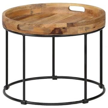 Festnight Table Gigogne Bois et Métal Table Basse Industriel Table d'appoin pour Salon Table de Chevet en Bois Massif Marron et Noir 50 x 40 cm