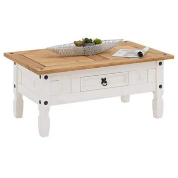 IDIMEX Table Basse de Salon Campo rectangulaire en Bois Style Mexicain avec 1 tiroir, en pin Massif lasuré Blanc et Brun