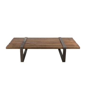 MACABANE Table Basse Multi-Planches Bois Massif cerclée métal, 169x94x16