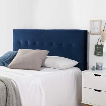 marcKonfort Tête de lit tapissée Napoles 140X100 cm Bleu, pour Couchage de 140, Velours, Pieds en Bois, quaincaillerie Incluse.