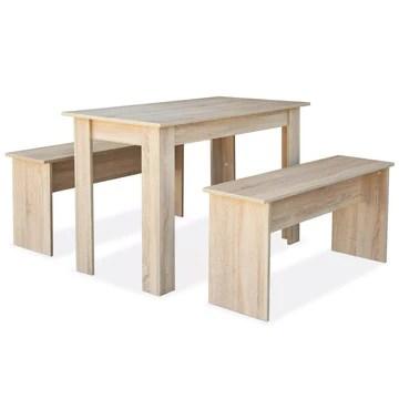 Tidyard 3 pcs Mobilier de Salle à Manger | Table a Manger | Mobilier de Cuisine | Table de Cuisine avec 1 Table et 2 Bancs Aggloméré Chêne