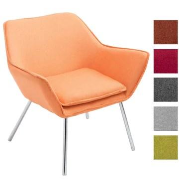 CLP Fauteuil Lounge Design Caracas Tissu I Chaise Confortable Assise et Dossier rembourrés Accoudoir I Fauteuil de Salon Piètement en Métal Orange