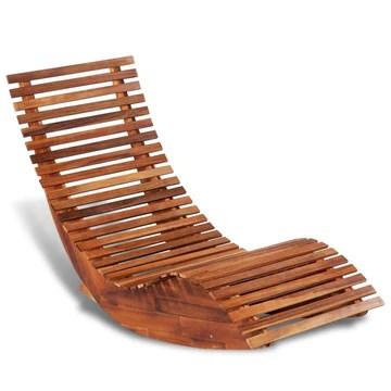 Fesjoy Chaise Longue à Bascule Bois d'acacia Bain de Soleil Inclinable Chaise de Jardin Inclinable Jardin terrasse Piscine Sauna lit de Bronzage Chaise de Plage