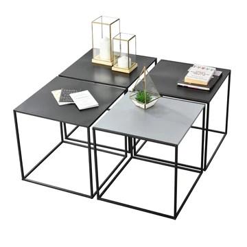 [en.casa] Set de 4 Tables Basses de Salon en Métal Style Industriel avec Étagère de Rangement 4 x 45 x 45 x 45 cm Noir et Gris