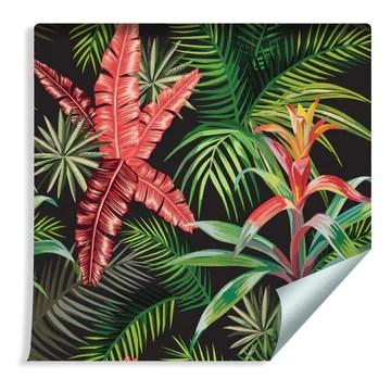Muralo Papier Peint Feuilles de Palmier et Fleurs Exotiques Vinyle Décoratif Jungle Nature - 163628115