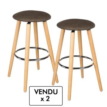 Atmosphera Lot de 2 tabourets de Bar - Look Moderne Epuré - Coloris Taupe Chiné