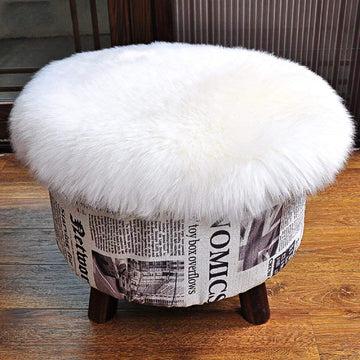 DAOXU Faux Peau de Mouton en Laine Tapis, Imitation Toison Moquette Fluffy Soft Longhair Décoratif Coussin de Chaise Canapé Natte (30 x 30 cm, Blanc)