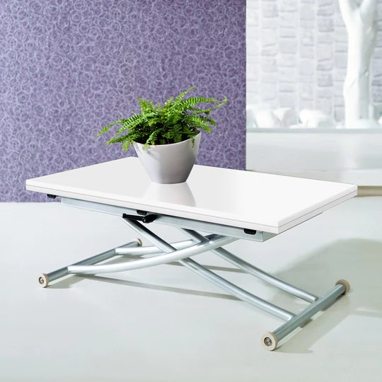 INTENSEDECO Table Basse relevable Philadelphia Blanc laqué