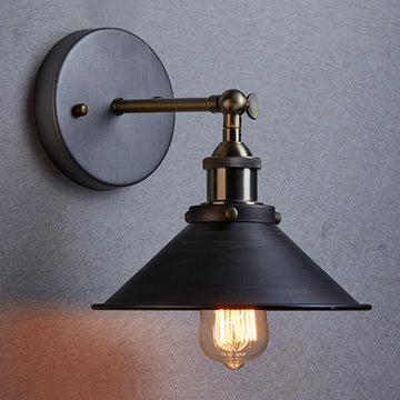 MMGG Applique murale ou plafonnier pliable avec abat-jour vintage industriel en métal noir et bronze