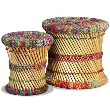 vidaXL 2x Tabouret Bambou avec Détails Chindi Multicolore Meuble de Salon