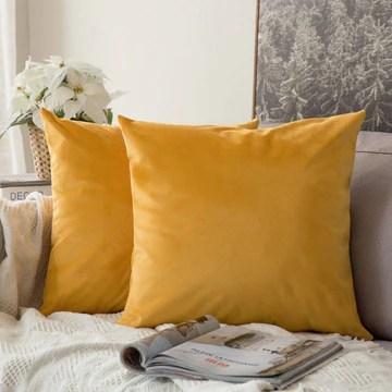 MIULEE Housse de Coussin Décoratif en Velours Taie d'oreiller Deco Chambre Canapé Lot de 2 40x40cm Moutarde
