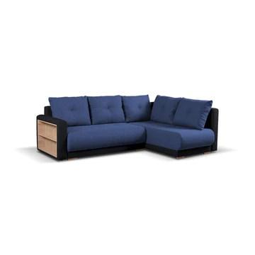 MEUBLO Canapé d'angle Convertibles 4 Place Tissu Pella (Canapé d'angle Droit, Bleu + Noir)