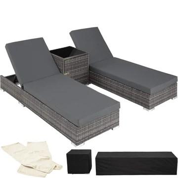 TecTake 403088 2X Chaise Longue Bain de Soleil + Table, en Aluminium et Résine Tressée + Deux Set de Housses + Housse de Protection, Gris