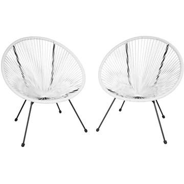 tectake 800729 2 Fauteuils Acapulco de Jardin de Salon Design rétro, pour Un Usage en intérieur et extérieur - Plusieurs Couleurs - (Blanc | no. 403303)