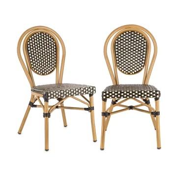 Blumfeldt Montpellier BL - Chaise de Jardin, Nettoyage Facile, Cadre en Aluminium, Empilable, Résistante aux intempéries, Peu encombrante, Assise spacieuse, Lot de 2, Beige
