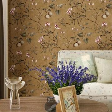 ACCEY Pays d'Amérique fonds d'écran style rustique vintage nostalgique salon chambre fleurs et oiseaux vert foncé papier peint arrière TV@99102_brown_5.3㎡