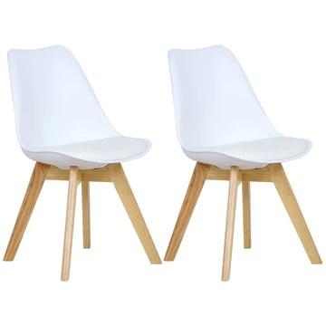 WOLTU 2 Chaises de Salle à Manger Cuisine/Salon chaises,Design en Similicuir et Bois Massif,Blanc BH29ws-2