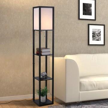 Homcom Lampadaire étagère Lampe étagère 26L x 26l x 160H cm 3 étagères 4 Niveaux MDF Noir