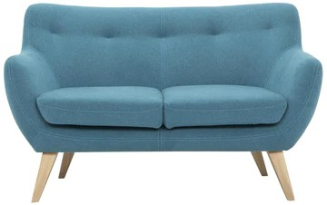 Scandinavian Design, Oscar canapé, 2 places, tissu bleu, 132 x 79 x 80 cm
