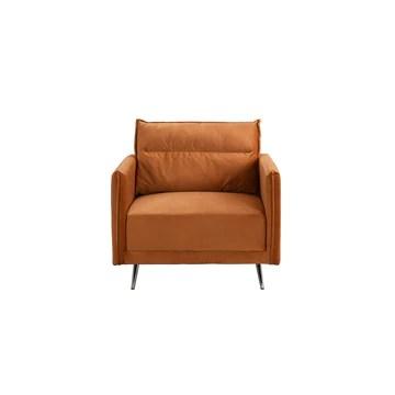 BHDesign Paul - Fauteuil Moderne Confortable - Velours - Coloris Camel