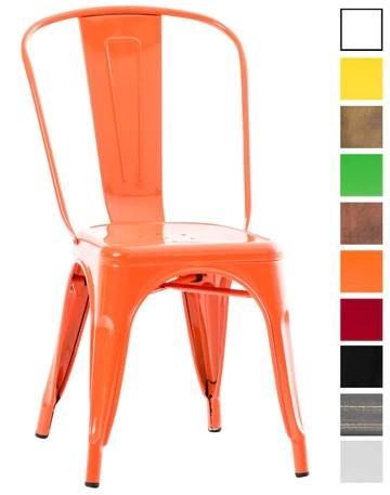 CLP Chaise Empilable en métal Belgrad - Chaise avec Dossier Haut Pieds avec Patins de Protection - Hauteur Assise 46 cm - Chaise de Cuisine Orange