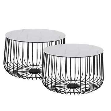 IDIMEX Lot de 2 Tables d'appoint Padova Tables à café Tables Basses Rondes Bouts de canapé Design Vintage Industriel, Rangement Panier en métal avec Plateau Amovible en MDF décor marbre Blanc