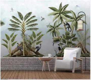 papier peint panoramique tapisserie murales stickers muraux Salon papier peint poster Bateau singe paysage de forêt tropicale 3d papier peint jungle