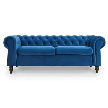 DecoInParis Canapé Chesterfield 3 Places en Velours Winston (Bleu)