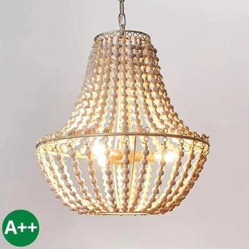 Lustre 'Juliette' à intensité variable en Blanc en Bois e. a. pour Salon & Salle à manger (à 3 lampes, E14, A++) de Lampenwelt | Suspension, suspension, lustre, lampe, plafonnier, plafonnier