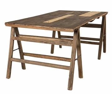 MACABANE Table tréteaux 180x100cm en Bois recyclé-Esprit Brocante, 184x15x102
