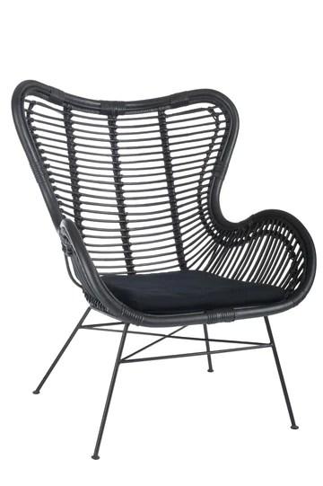 Chaise en rotin et métal noir + coussin