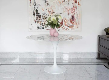 Little Tulip Shop Table Tulipe Circulaire en marbre Carrara Blanc 120 cm