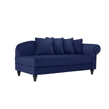 BHDesign Marie - Meridienne Moderne Antique - Velours - Coloris Bleu Navy